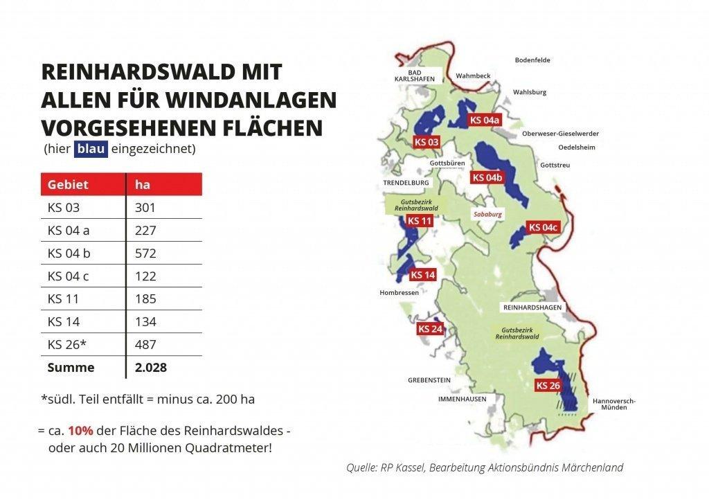 Flächen vorgesehen für Windanlagen Reinhardswald